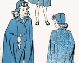 1940s  Girls CAPE and HAT  Advance 3476 Vintage 40s Sewing Pattern Size 6