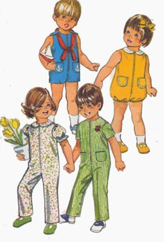 1970s Vintage Sewing Pattern Simplicity 9290 Toddlers Jumpsuit or Bubble suit or Nautical Sailor Shortset Size 4