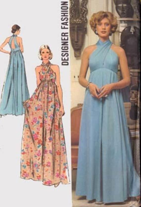 Vintage 70s simplicity 5364 designer fashion disco a empire dress