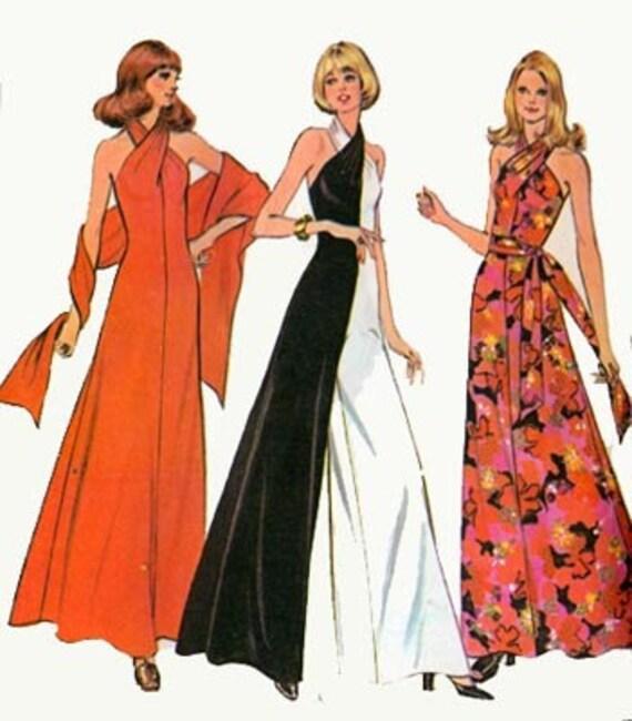 Vintage 70s Mccalls 3419 Disco Halter Jumpsuit Or Dress And
