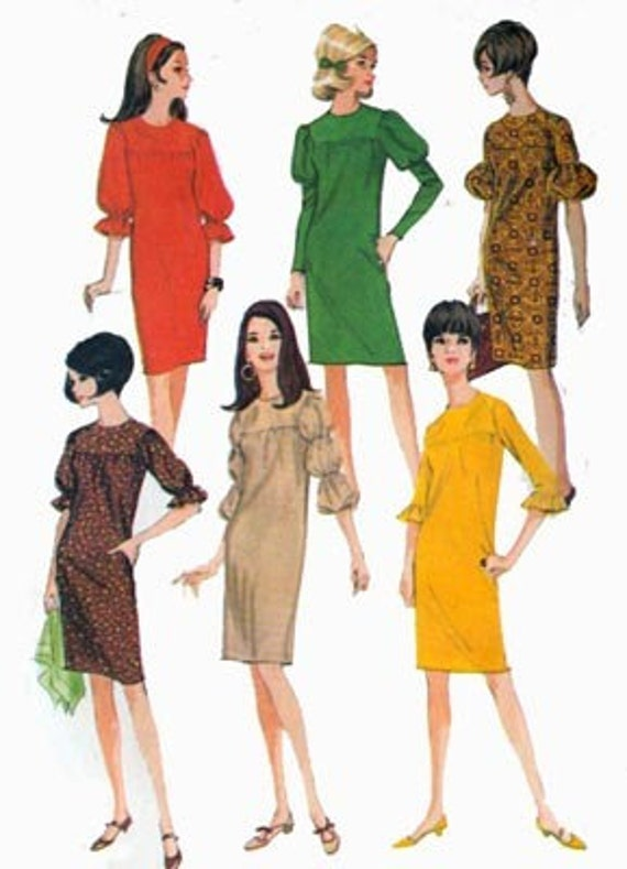 Vintage 60s Sewing Pattern McCalls 8370 Womens MOD Yoked Sheath Dress with Puff Ruffled or Lantern Sleeve Interest Size M 12-14 Bust 32-34