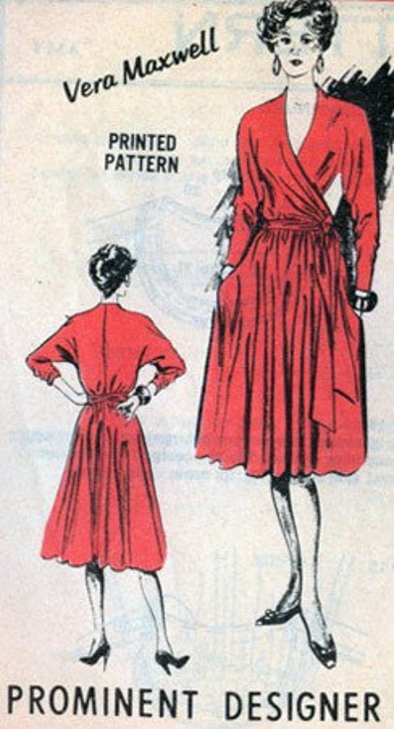 Vintage Mail Order Pattern A 515  Prominent Designer Vera Maxwell WRAP Blouse and Skirt Size 14 UNCUT