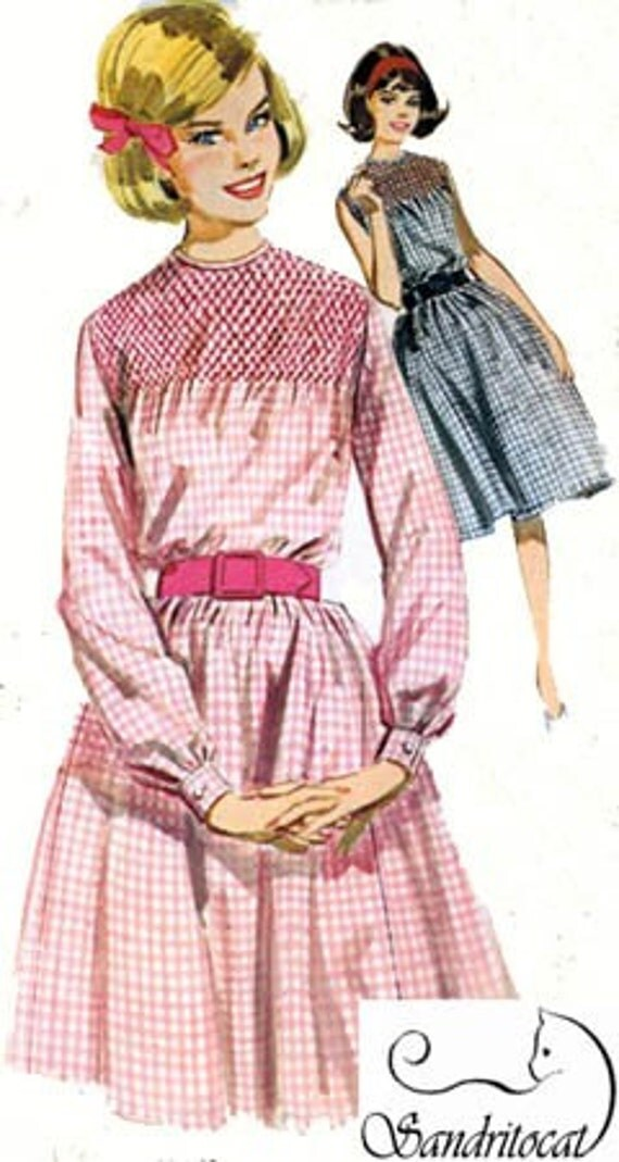 Vintage 60s Sewing Pattern Butterick 2771 Misses Smocked Gingham Dress Size 16 Bust 36 UNCUT
