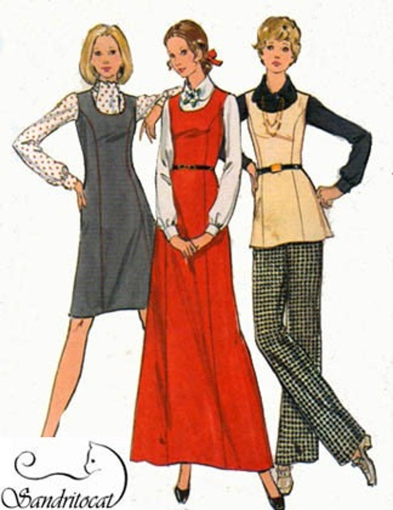1970s Vintage Sewing Pattern Butterick 6723 EASY Princess Seamed U Neckline Jumper Tunic and Pants Plus Size 20.5 Bust 43