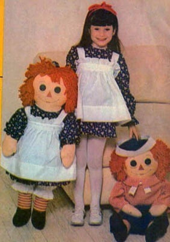 Vintage 70s McCalls 4268 36 Inch RAGGEDY ANN ANDY Dolls with Child Size Apron Sewing Pattern Uncut