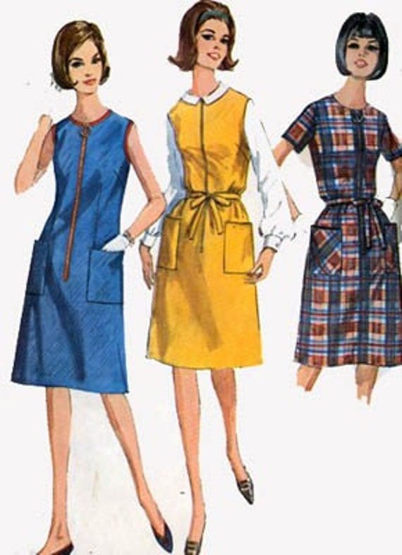 1960s Vintage Sewing Pattern Simplicity 6095 Half Size Dress or Jumper Size 18.5 Bust 39