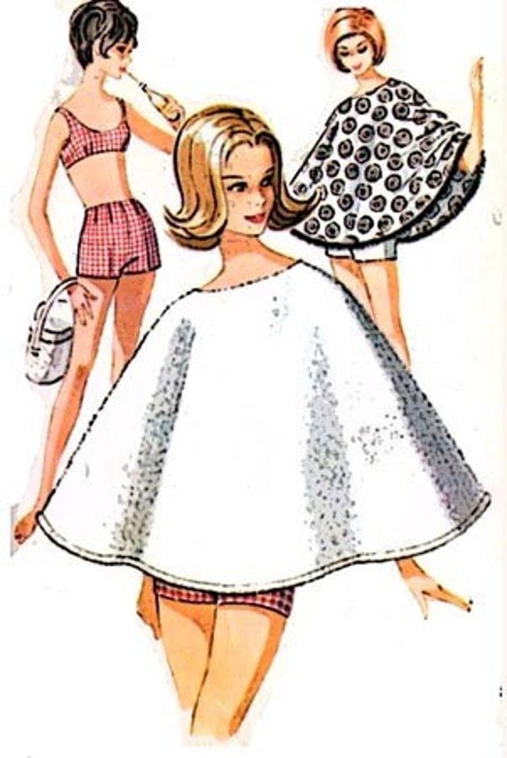 Vintage 60s McCalls 6821 SMOKIN Bikini Bathing Suit with BOY SHORTS and PONCHO Pattern Size 13 B33