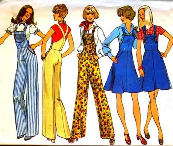 Vintage 70s Simplicity 7006 Sewing Pattern Side Buttoned Bib Wide Leg Overalls, Jumpsuit Size 10 UNCUT