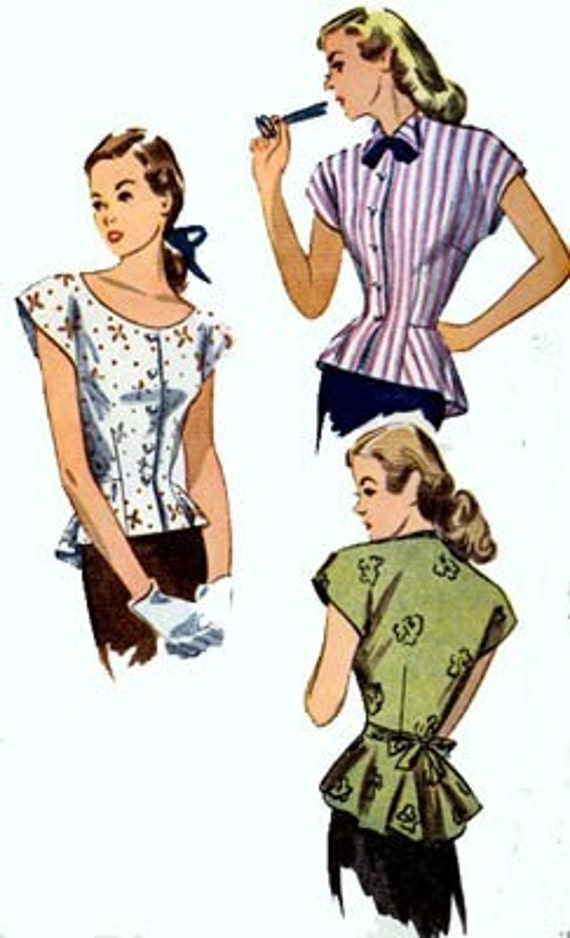 Vintage 40s Simplicity 2027 Elegant Fitted PEPLUM Blouse Sewing Pattern Size 16 Bust 34