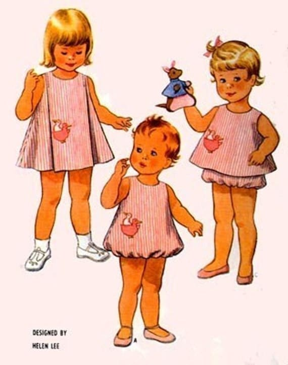 Vintage 60s McCalls 8121 Toddlers Bubble Romper, Angel Top, Dress and Bloomers Sewing Pattern Size 6 mos