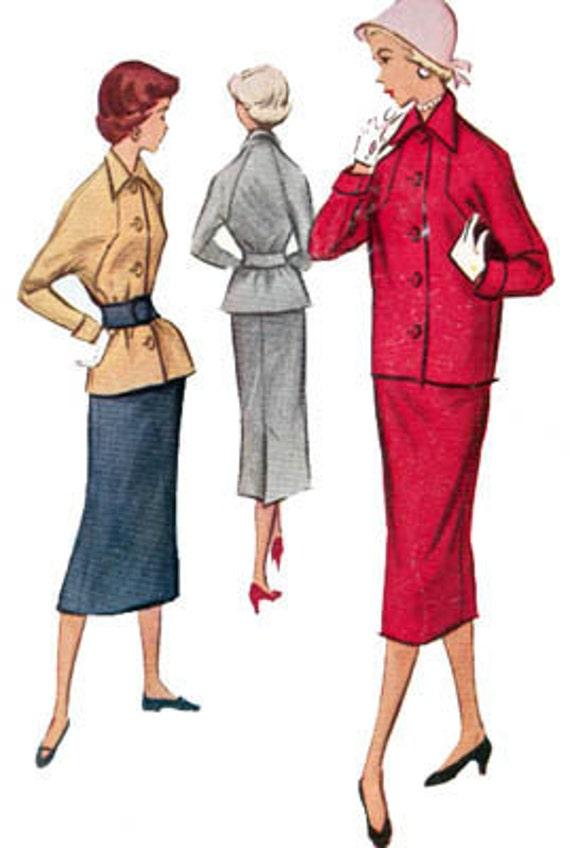 Vintage 50sMcCalls 9250 ROCKABILLY Wiggle Suit Sewing Pattern Size 13 Bust 31