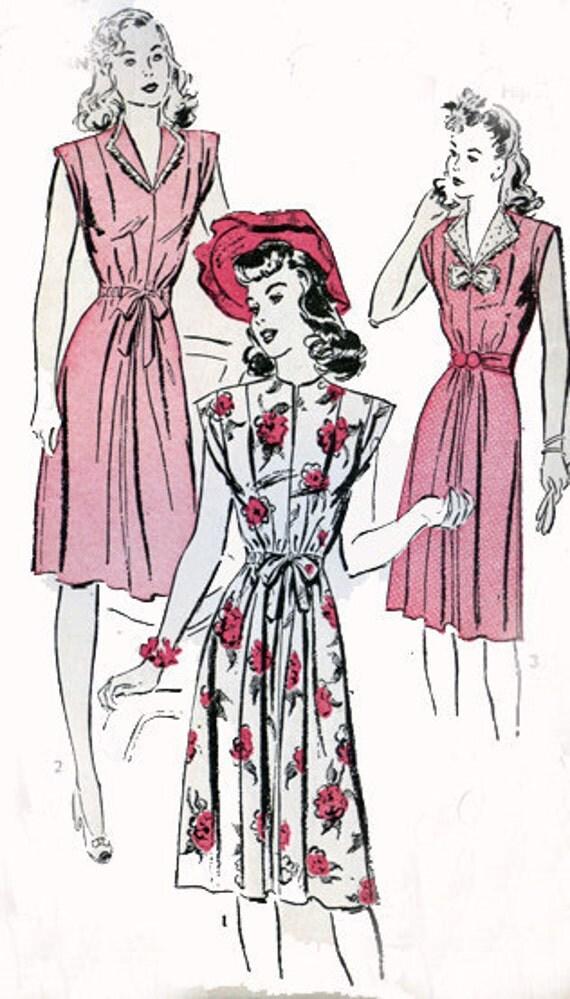 Vintage 40s Advance 3601 Oh So Elegant Swing Era Dress Size 18 B36