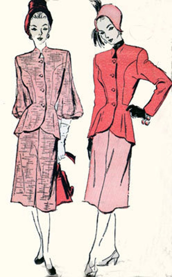 Vintage 40s Advance 4499 Swing Era Peplum Jacket Suit with Lantern or tailored Sleeves Sewing Pattern Size 16 Bust 34