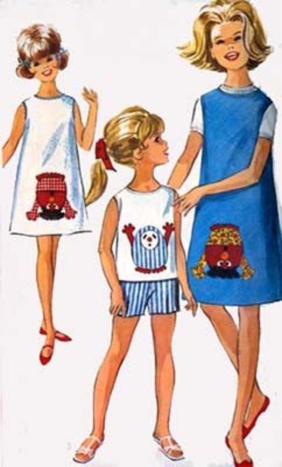 1960s GONK Skimmer Dress or Jumper, Top and Shorts Simplicity 5950 Vintage 60s Fun Fad Sewing pattern with GONK Transfer Size 10 UNCUT