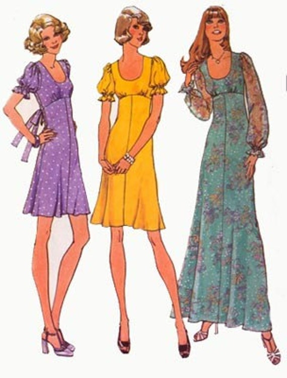 1970s EMPIRE Mini or Midi Dress wih Fitted Midriff and U shaped neckline Simplicity 6885 Vintage 70s Sewing Pattern Size 7 and 9 jp