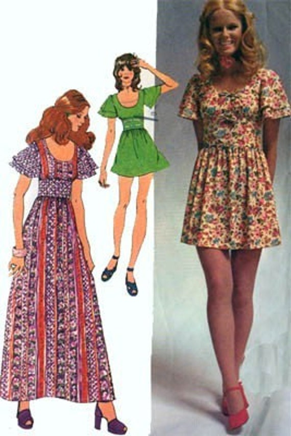 Vintage 70s Simplicity 9725 Mini Maxi Dress Pattern with Flutter Sleeve Fitted Midriff Size 11\/12 B32