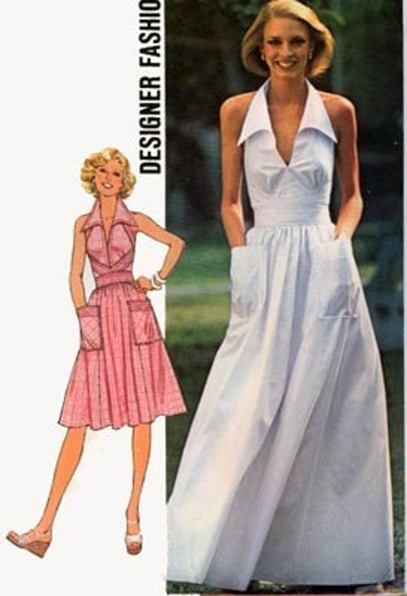 Vintage 70s Simplicity 7431 COOLEST HALTER Dress with ITALIAN Collar and Fitted Midriff and BIG Pockets Sewing Pattern Size 10 Bust 32.5 UNCUT