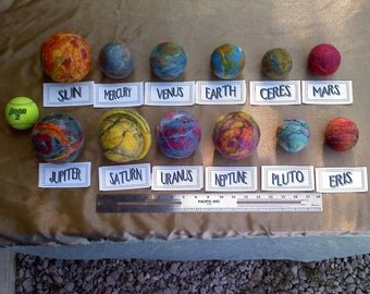12 XL Mobile Solar System Planet Set - Extra large silk infused Felt Space Ball Collection with POWERCORD attached for display