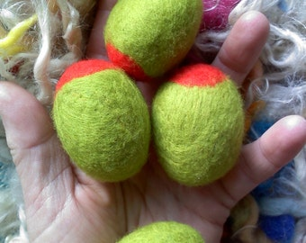The 2 inch Jumbo Pimento Green Olive - Ornament Play Ball - 50 mm size - Merino Wool