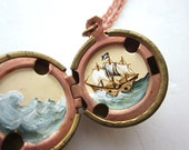 Pirate Ship Sailing a Stormy Sea, One of a Kind, Painted Antique Locket