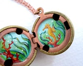 Secret Seahorse Locket, Red Coral and Aqua Sea, Hand Painted Miniature in Vintage Stock Brass Ball