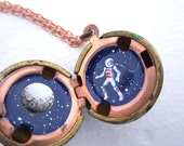 Astronaut in a Hidden Galaxy, Full Moon and Stars Painted in a Tiny Locket