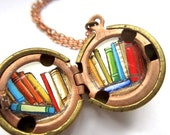 Hand-painted Library Books - Tiny Colorful Books Inside a Vintage Locket - Red, Orange, Yellow, Blue and Green