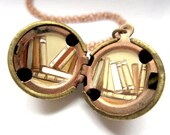 Library Locket - Stacks of Tiny Books Inside a Vintage Stock Brass Ball - Hand-painted OOAK