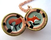 Fox Locket - Hand-Painted in Oil - Bright Red, Black and White, and Army Greenl in a Vintage Brass Ball