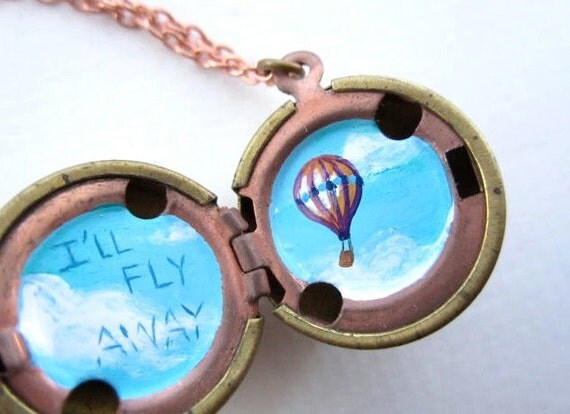 Fly Away Locket - Miniature Painted Hot Air Balloon in a Blue Sky Spotted with White Clouds