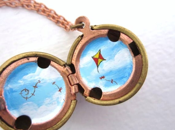Go Fly a Kite, Painted Locket in Sky Blue with White Clouds, One of a Kind Miniature