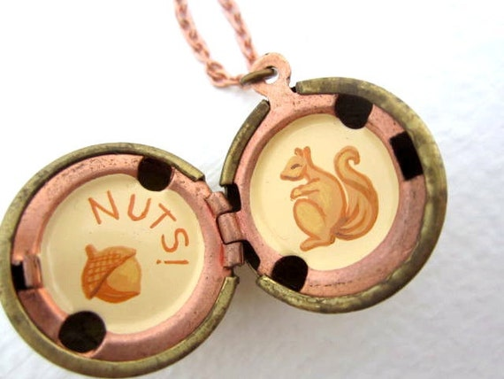 Squirrel and Acorn Locket, Hand-painted Oil Original In Cream and Copper Gold, Totally Nuts.