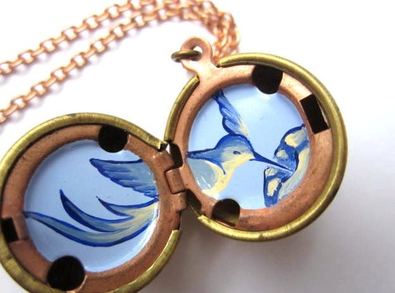 Hummingbird Locket - Hand-painted in Periwinkle and Cobalt Blue with Cream - Vintage Stock Brass Ball