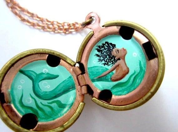 Mermaid Locket in Oil - Turquoise Seaweed and Aqua Sea, Hand-Painted Original Miniature