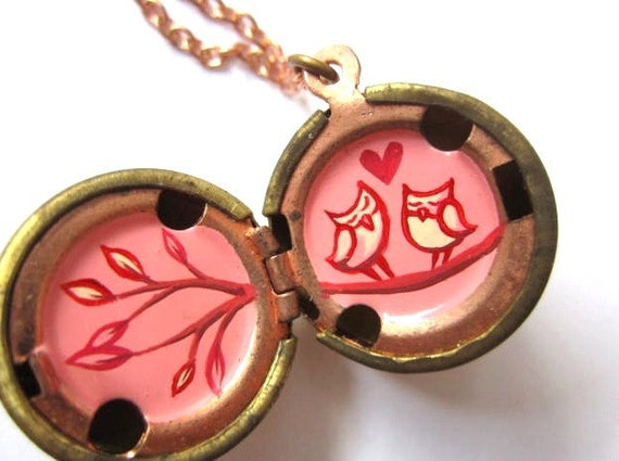 Love Owls Locket - Hand Painted Miniature - Hot pink, Red and Cream in a Vintage Stock Brass Ball