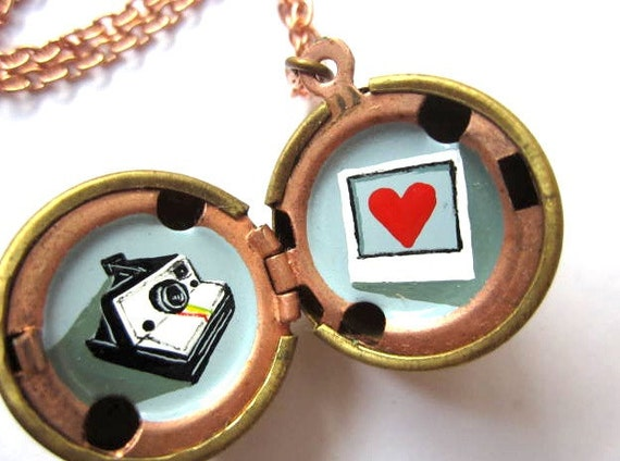 Love for Polaroid Locket - Miniature Hand-painted Camera and Photograph - Oil enamel in Vintage Stock Brass Ball