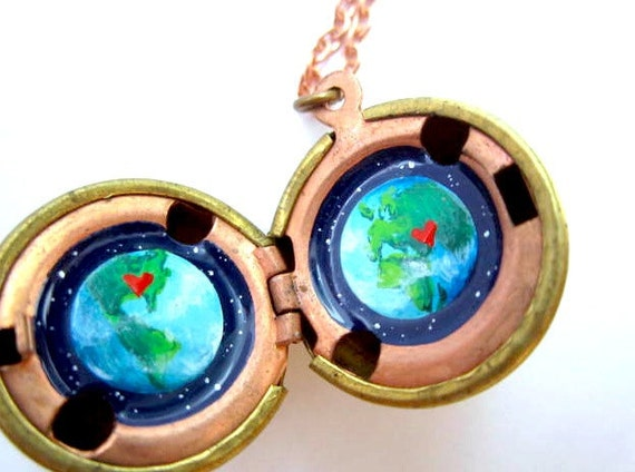 Customizable Earth Locket - Hand-painted Miniature for Long-Distance Love