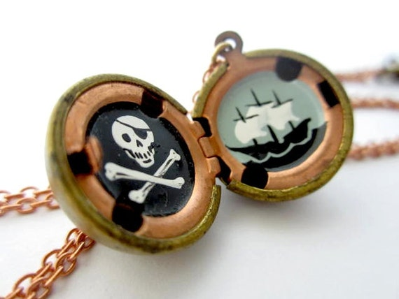 Pirate Pendant Necklace, Hand-Painted Locket with Jolly Roger Miniature - One of a Kind Gift in Black, White and Brass