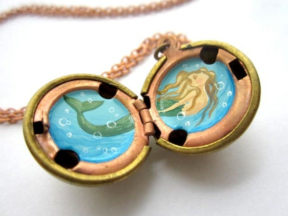 Blonde Mermaid in an Aqua Blue Sea, Hand-Painted Oil Miniature in Locket - Vintage Stock Brass Ball