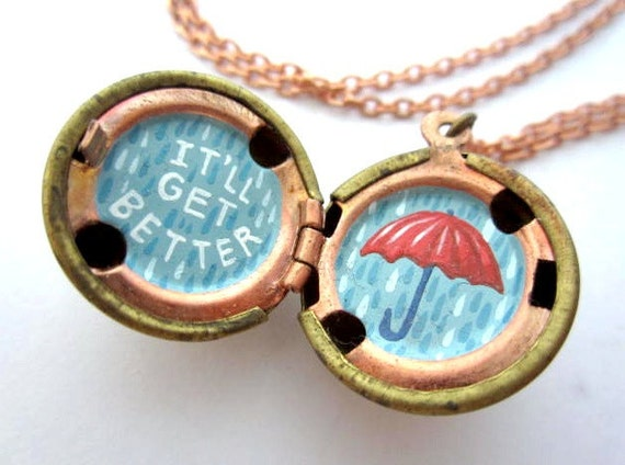 Hand-painted Locket - Inspiration with an Umbrella in Bright Red and Shades of Rainy Blue