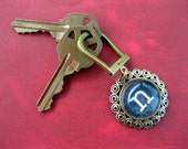 personalized initial key fob \/ keychain -- rounded