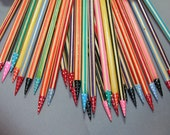 fun and unique, hand painted birch knitting needles