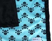 Minky Blanket, Skull Pattern, 28x34
