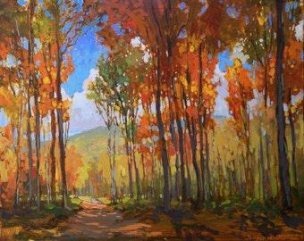 Fall - Autumn Splendor - Giclee Fine Art PRINT of original painting matted 11x14 by Jan Schmuckal