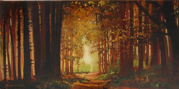 Fall, Autumn Colors - Into The Woods - Giclee Art PRINT or Original Painting matted 12x20 by Jan Schmuckal