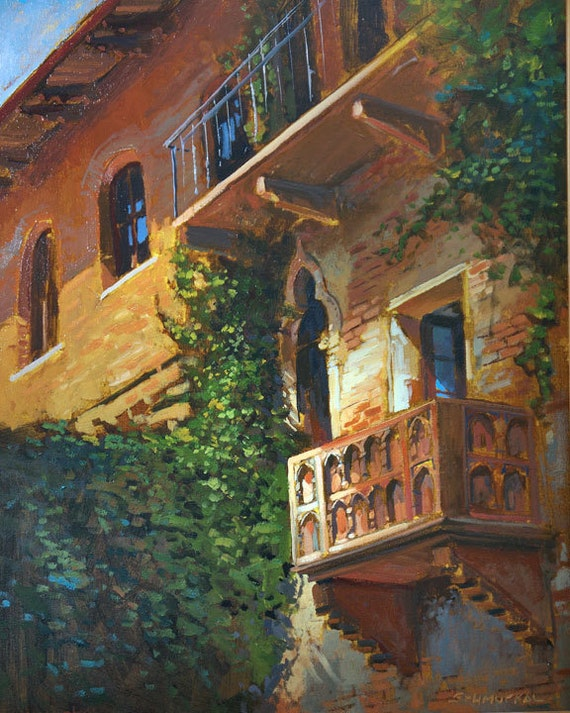 Juliet's Balcony in Verona - Giclee Fine Art PRINT matted 11x14 by Jan Schmuckal