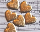Eight Vintage Antiqued Brass Charms 'My Heart Belongs To Daddy'