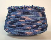 Ribbon Wrapped Coil Basket Beaded Rim