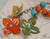 Nantucket Sunset Necklace - Enamel Pieces, Vintage Japanese Millifiori Beads, Oxidized Sterling Silver