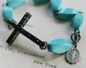 Sideways Cross Rhinestone Bracelet wirewrapped on Oxidized Sterling Silver - Blessed Bracelet in Turquoise